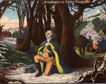Valley Forge, Pennsylvania, George Washington, Kneeling - Linen Postcard - Postcard - Unused (B1)
