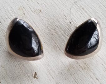 Vintage onyx and sterling silver post earrings Taxco J. Gomes signed