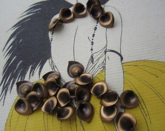 Brass Ox Plated Calla Lily Beads Drops 6 Pcs. U.S. Made