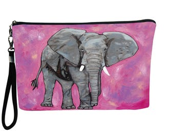 Elephant Pouch with detachable strap  -Support Wildlife Consevation, Read How -  From my Original Oil Painting, Kelly
