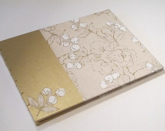 Large Metallic Gold and Ivory Guest Book: Floral Blossom Cream and Gold Wedding Guestbook