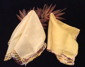 Vintage Two Yellow Linen Handkerchiefs with Brown Crocheted Edging