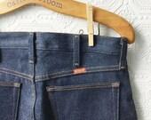 Vintage Blue Jeans, Dark Wash, 100% Rugged Cotton, Straight Leg Zip Fly, Lumberjack Cowboy Work Jeans, NOS, Size 30x32, by Rustler, Vintage