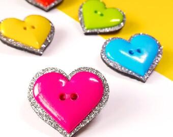 Felt Brooch - Glitter Heart Felt Brooch - Heart Shaped Pin - Heart Jewelry - Colourful Gift