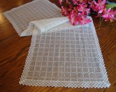 Lace Dresser Scarf White Sheer Table Runner Vintage Table Linens
