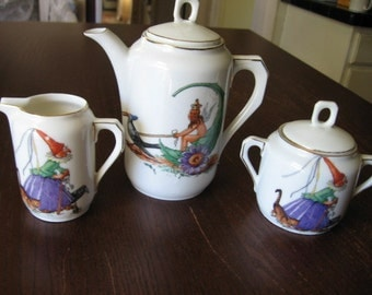 Fairies Gnomes Witches  Franz Prause Porcelain Tea Set
