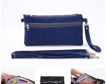 Small Crossbody purse wristlet wallet clutch purse bag honolulu blue ,Travel wallet  for holding smartphone,cash, credit cards, coins,