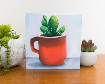 Retro Coffee Mug Painting, Succulent Painting, 6x6 Oil Painting, Vintage Coffee Cup, Succulent Art, Small Painting, Gifts Under 50