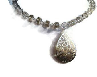 Brown Necklace - Smoky Quartz Jewelry - Mother of Pearl Pendant - Sterling Silver Jewellery