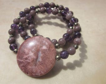 fossil Wood Amethyst brown Aventurine NECKLACE