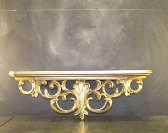 Vintage Syroco Ornate Gold Wall Shelf