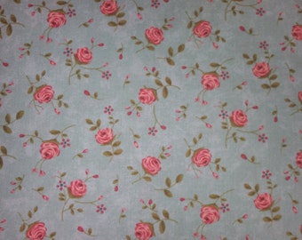 Rambling Rose  by Sands Gervais for moda pink roses on turquoise