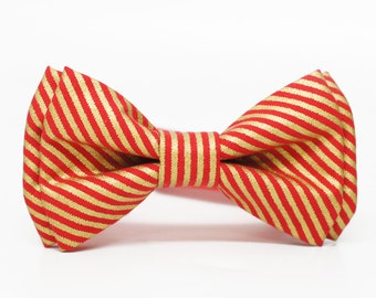 Gold and Red Stripes  Bow Tie for all ages - Pre-tied bowtie - ring bearer, wedding day, photo prop, church, party, holiday