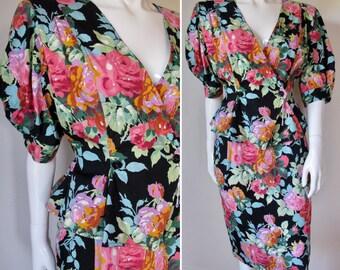 Vintage 1980s Ungaro Solo Donna Cotton Floral Skirt Suit Set--Never Worn