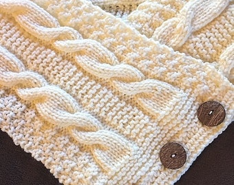 Knited Scarf - Ivory Scarf - Winter scarf - Cowl scarf neck-  -winter scarf  neck warmer