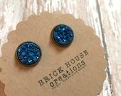 Deep Indigo Blue Metalic Druzy earrings