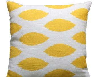 SALE Toss Pillow, Corn Yellow Chipper Ikat Pillow Cover, Zippered Cushion Cover, Yellow Pillow Case, Couch Pillows, Modern Home Decor, Bed P