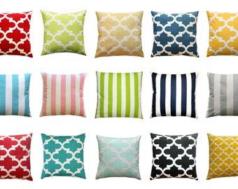 CLEARANCE Throw Pillow Cover, Quatrefoil Pillow, 20x20 Striped Pillow, Modern Decor, Zippered Pillow, Decorative Pillow, Living Room Decor