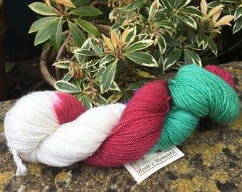 "100grms hand painted merino/nylon /stelina yarn ""  christmas is coming """