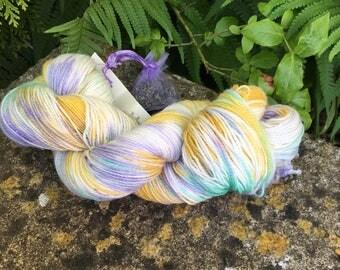 "100grms hand painted merino/nylon /stelina yarn ""  spring  flowers """