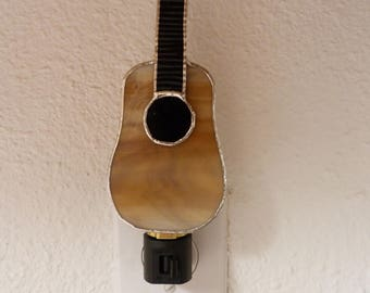 Guitar Stained Glass Night Light, Music, Tan, Instrument, Plug In, On Off Switch, Lead free Solder, Handmade, C7