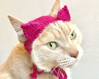 Pink Feminist Pussy Hat Cat Costume - Hand Knit Cat Hat - Pussy Hat Cat Costume - Women's March Hat for Cats (READY TO SHIP)