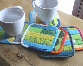 Marimekko fabric coasters • drink coasters • modern coasters • quilted coaster • contemporary mug rug • Finnish • gift mom • Marimekko gift
