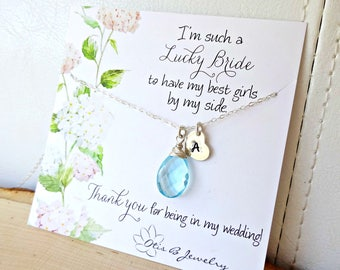 Bridal gemstone necklace jewelry gift set, personalized Bridesmaid necklaces thank you cards, gold or silver bridesmaid jewelr