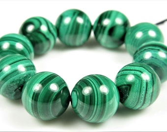 Top Grade ~ Premium Quality Natural Malachite Round Bead - 11 mm - 10 beads - B6276