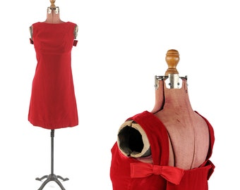 Vintage 1960's Ruby Red Velvet Mini Shift Evening Baby Doll Satin Bow Tie Mini Party Dress S