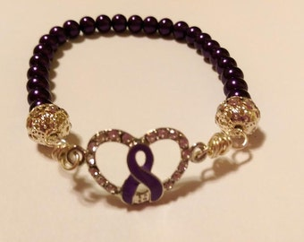 Purple Pearl Heart All Cancer Awareness Crystal Sterling Silver Filigree Stretch Bracelet