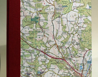 A5 Sketchbook hand stitched and bound with map of Henley on Thames