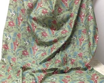 "Cotton Fabric Vintage Yardage Fantasy Bird in Flight Flowers 2'x36"" Mint Cond."