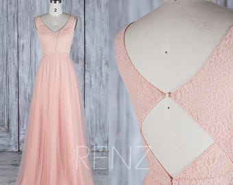 Bridesmaid Dress Peach Illusion V Neckline Tulle Wedding Dress,A Line Sleeveless Evening Dress,Lace Key Hole Back Long Cocktail Dress(HL479)