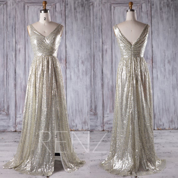 2017 gold silver sequin bridesmaid dress slit v neck wedding for Silver and white wedding dresses