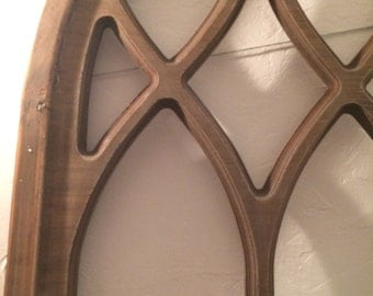 XL arched wood window pane window frame