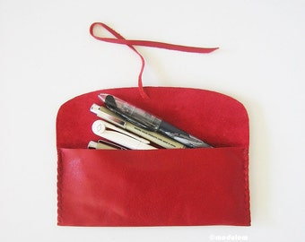 The Cherry Red Pouch - small leather pencil pouch, red pen case, handmade, étui de cuir, glossy finish, soft, pliable, 3x7