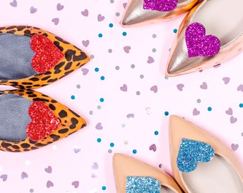 Glitter Heart Shoe Clip Pair