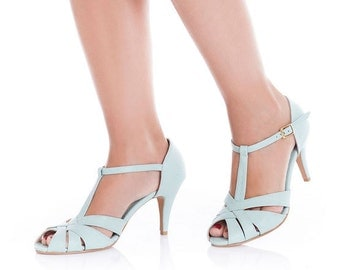 Chic high heel sandals / vegan leather / wedding day shoes / high heel peep toe shoe / light blue non leather shoe / not only for vegans