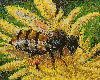 "Original Acrylic Pointillist Painting by Michigan artist 5x7 ""Honey Bee"""