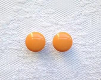 """Orange Vintage Style Button Pair Plugs Gauges Size: 0g (8mm), 00g (10mm), 1/2"""" (12mm)"""