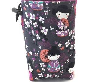 Geisha, Dice Bag, Draw String Bag, Free Standing, Revisable, Gamer Bag, D&D Dice Bag, Makeup Bag, Small Gift Bag, Pouch, RTS