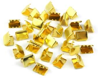 500 Pieces 10*8mm Gold Flat Ribbon Clamp End Crimp [6/16 inch]  (J-EC10)
