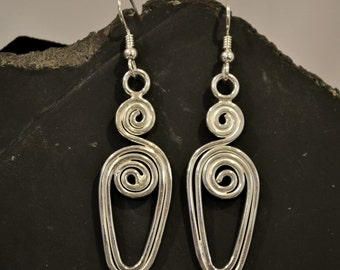 925 sterling Silver wire earrings.  Swirly Whirly earrings.