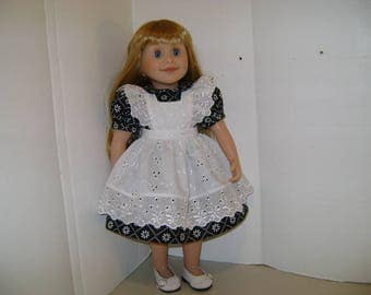 "Handmade Dress an Pinafore fits ""Brianne"" Maplelea Doll and all 18"" Dolls"