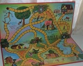 1967 Uncle Wiggely game board colorful graphics Vintage paper supplies altered art mixed media