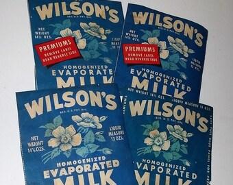 4 1930's Wilson's milk labels blue white flowers color paper ephemera art scrapbook supplies Vintage advertising label scrap lot