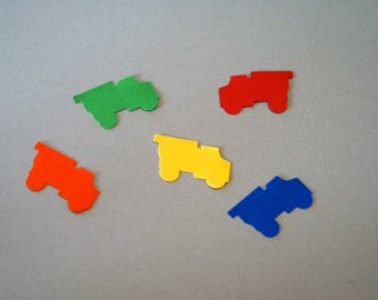 50  YOU Choose DUMP TRUCK, Trains, Car punches  red, yellow,green,orange and blue Hand Punched  Confetti, Birthday ,scrap booking,