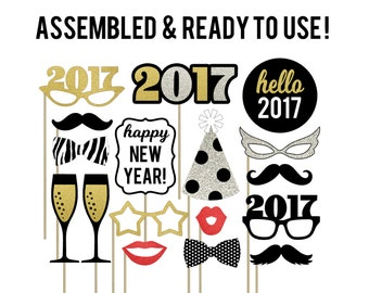New Year Photo Booth Props . New Years Eve Photo Booth Props . 2017 New Year Party Decorations . New Year Decorations . Set of 17 . Glitter