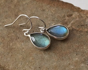 Labradorite Earrings in Sterling Silver -Silver Labradorite Earrings -Labradorite Drops